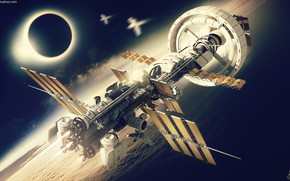 Picture planet, ships, Spaceship concept