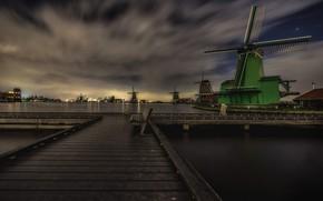 Wallpaper clouds, bench, The Zaanse Schans, night, windmill, Netherlands, lights