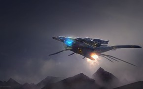Picture mountains, aircraft, alien ship, sketch in 3dcoat
