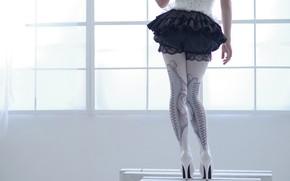 Picture girl, style, stockings, figure, heels, corset, legs