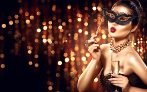 Picture look, girl, style, model, hands, makeup, mask, hairstyle, decoration, a glass of champagne