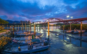 Picture clouds, landscape, mountains, bridge, lights, river, home, boats, the evening, Taiwan, New Taipei