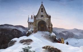 Picture landscape, Mountain chapel in Winter, Mountain chapel in winter, Ernst Ferdinand Oehme
