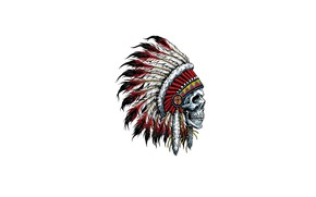 Picture skull, feathers, Indian, headdress