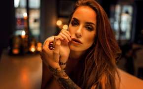 Picture look, girl, glare, lights, hands, makeup, tattoo, hairstyle, brown hair, beautiful, bokeh, Kim, Miro Hofmann