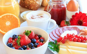 Picture berries, Breakfast, cereal, cuts, meats