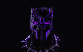Picture mask, black background, Neon, comic, MARVEL, Black Panther, Black Panther