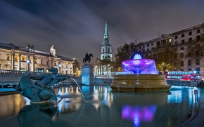 Picture night, lights, England, London, fountain, Trafalgar square