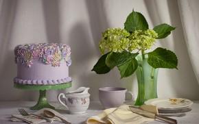 Picture cake, dishes, hydrangea