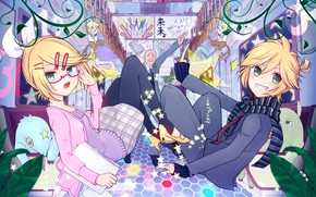 Picture girl, curls, male, guy, two, Vocaloid, Vocaloid, Kagamine Len, Kagamine Rin