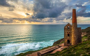 Picture sea, the sky, clouds, coast, England, tower, horizon, the ruins, fortress, Churchtown