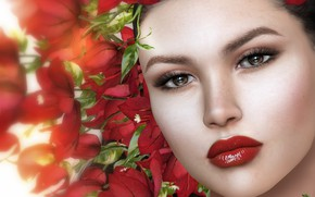 Picture girl, flowers, face, roses