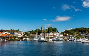 Picture yachts, boats, pier, Norway, Norway, Grimstad, Grimstad