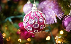 Picture macro, background, holiday, toy, tree, new year