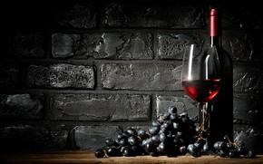 Picture wall, wine, black, glass, bottle, brick, grapes, twilight, the basement