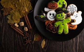 Wallpaper sweets, food, leaves, hat, Halloween, biscuit, wood, ghost, monster, wooden table, pumpkin