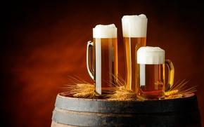 Wallpaper beer, ears, mugs, barrel, foam