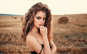 Picture field, grass, look, nature, portrait, makeup, Alina, horizon, hairstyle, hay, brown hair, beauty, bokeh, Evgeny …