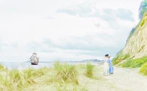 Picture landscape, rocks, ladies, shore, ship, sail, walk