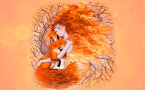 Wallpaper redhead autumn, autumn, girl, Fox, luleiya, Fox Spirit