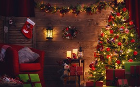 Wallpaper room, garland, gifts, holiday, tree, pillow, toys, lights, kerosene stove, lantern, chair, Christmas, lamp, box, ...