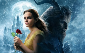 Wallpaper cinema, girl, love, rose, Disney, Emma Watson, flower, monster, blizzard, lion, snow, movie, castle, blonde, ...