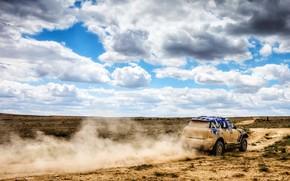Picture The sky, Clouds, Mini, Dust, Sport, Desert, Speed, Race, Rally, SUV, Rally, 207, X-Raid Team, …