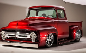 Picture Ford, pickup, 1956, classic car, red color., F100