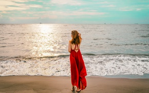 Picture sea, girl, dress