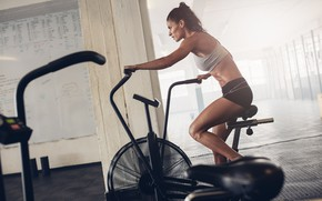 Picture woman, fitness, training, fixed chair