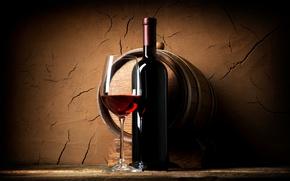 Picture wall, wine, red, glass, bottle, shelf, barrel, the basement