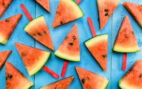 Picture watermelon, fresh, wood, slices, watermelon, slice