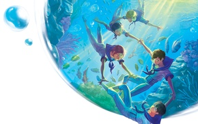 Picture fish, drop, white background, underwater world, friends, sailor, Nanase Haruka (Free!), Matsuoka Rin, Hazuki Nagisa, …