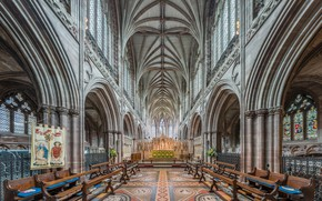 Picture Staffordshire, High Altar from choir, Lichfield Cathedral, Diliff, interior, UK