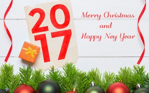 Wallpaper new year, happy, merry christmas, 2017