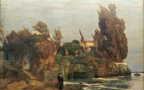 Picture the woman in black, 1865, Symbolism, Arnold .. .. , Villa by the sea