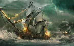 Wallpaper storm, lightning, ships, frigates, sea, wave, sailboats, Julian Calle, sea battle