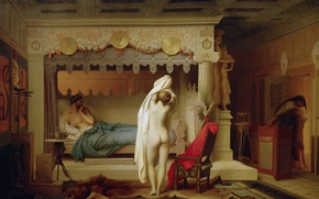 Wallpaper Jean-Leon Gerome, King Candaul, mythology, erotic, interior, picture