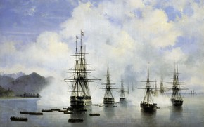 Picture oil, ships, picture, canvas, seascape, Ivan Aivazovsky, Landing N.N. Rajewski at Subashi