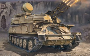 Picture USSR, Shilka, ZSU-23-4, Afghan war, Soviet antiaircraft self-propelled installation, 23 mm