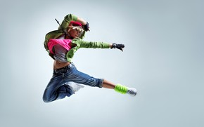 Picture pose, hood, background, blonde, jacket, dance, jump, hat, sneakers, Mike, jeans, girl, gloves