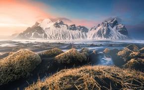 Wallpaper sunset, Vestrahorn, Iceland, Iceland, mountains, Stokkness