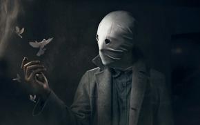 Wallpaper pigeons, mask, people