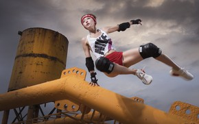 Picture girl, jump, Asian