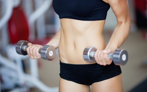 Picture Fitness, abs, dumbells