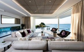 Wallpaper Villa, pool, Lagoon House, interior, living room