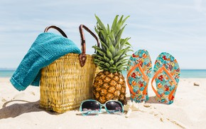 Picture sand, sea, beach, summer, stay, glasses, summer, bag, pineapple, beach, vacation, sea, sand, pineapple, slates, …