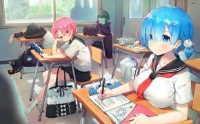 Picture kawaii, anime, Ram, maid, bishojo, seifuku, Rem, light novel, japonese, Re:Zero kara hajime chip isek …