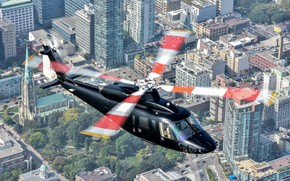 Wallpaper the city, helicopter, blades, Sikorsky S-76D
