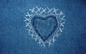 Picture fabric, Texture, heart, Jeans